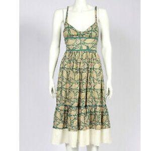FREE PEOPLE Green Floral Lace Trim Sun Dress